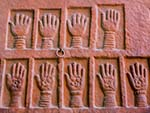 Sati (self-immolation) marks of royal widows who threw themselves on their maharajas funeral pyres