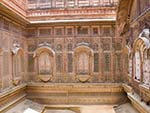 Zenana with latticed windows from which the women could watch the goings-on in the courtyards
