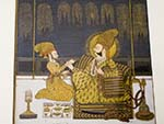 Painting of king on throne smoking a hookah pipe