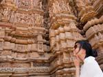 Sonya admiring the intricacy of the carvings of the Kandariya Mahadev Temple