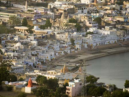 Pushkar Lake and surrounding bathing Ghats