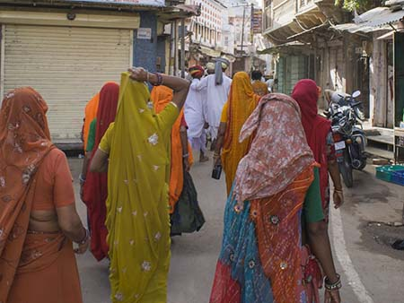 Indian women wearing colourful saris in Pushkar