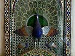 One of the mosaic peacocks at the Mor Chowk (Peacock Courtyard)
