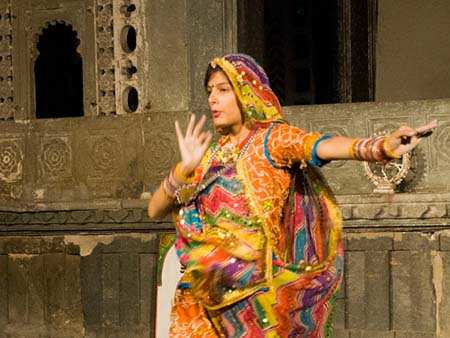 Girl dancing traditional Rajasthani dance