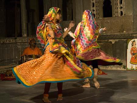 Two girls dancing to traditional Rajasthan folk music