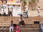 Sonya enjoying a rest on the steps of the Ghat