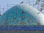 The turquoise blue dome of Chahar Bagh Madreseh