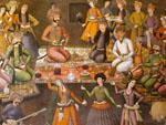 Frescoes in the music room of Chehel Sotun Palace a lavish banquets where the Shah entertained his guests