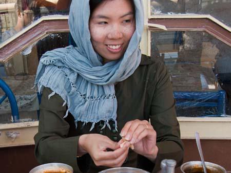 Sonya enjoying a meal of Dizi