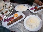 Meat kebab and rice (a popular Iranian dish)