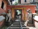 Entrance to Mahakali Temple with snow lions flanking the entrance