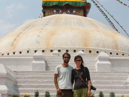 Travis and Sonya at the Bodhnath Stupa