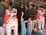 Children ringing the bells of Nara Devi Temple