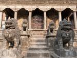 Stone lions guarding the entrance