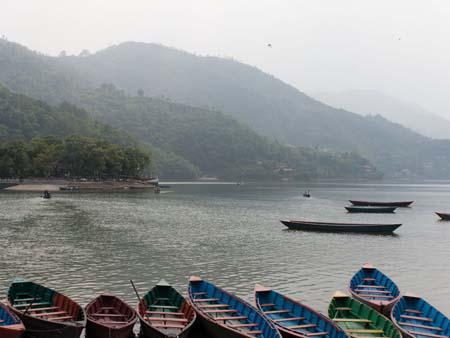 Canoes moored at Lake Phewa Tal