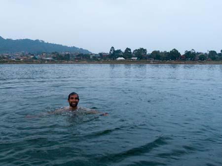 A cool swim in Lake Phewa Tal