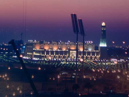 Imam Abdul Wahhab Mosque at night taken from Ezdan Towers