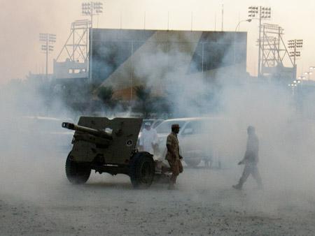 After artillery fire signalling the start of Iftar