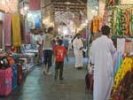 One of Souk Waqif hallways, fabrics for sale