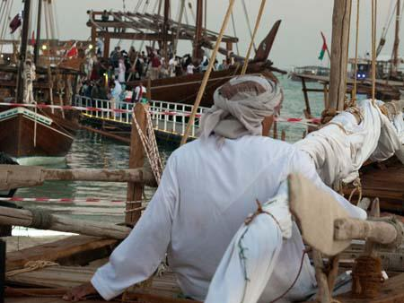 Captain relaxing on his dhow