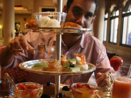 Royal Arabic High Tea  - Travis and the three tiered cakestand