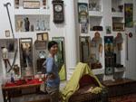 Sonya in a room with various Arabic items