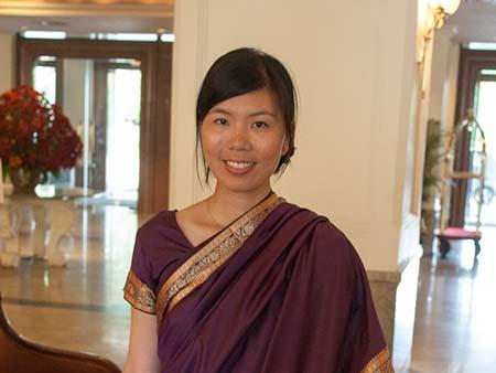 Sonya wearing a sari for the Sri Lanka wedding