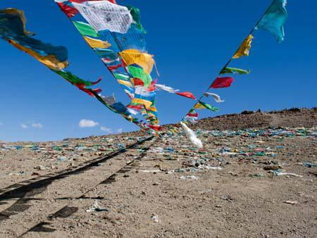 Prayer flags marking Tropu-la pass at 4500 metres