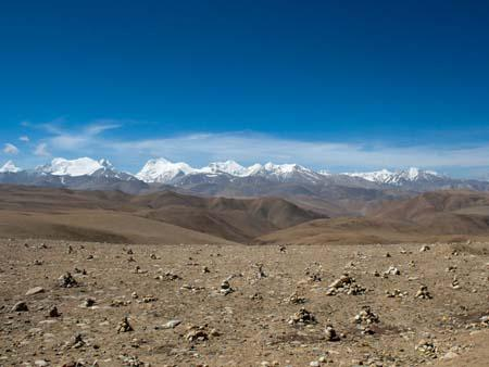 View of the Himalayans when approaching Nepal
