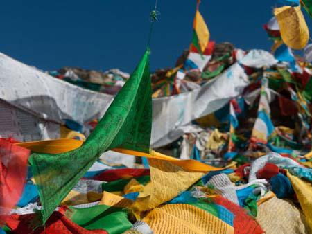 Prayer flags all along the Ganden Kora walk